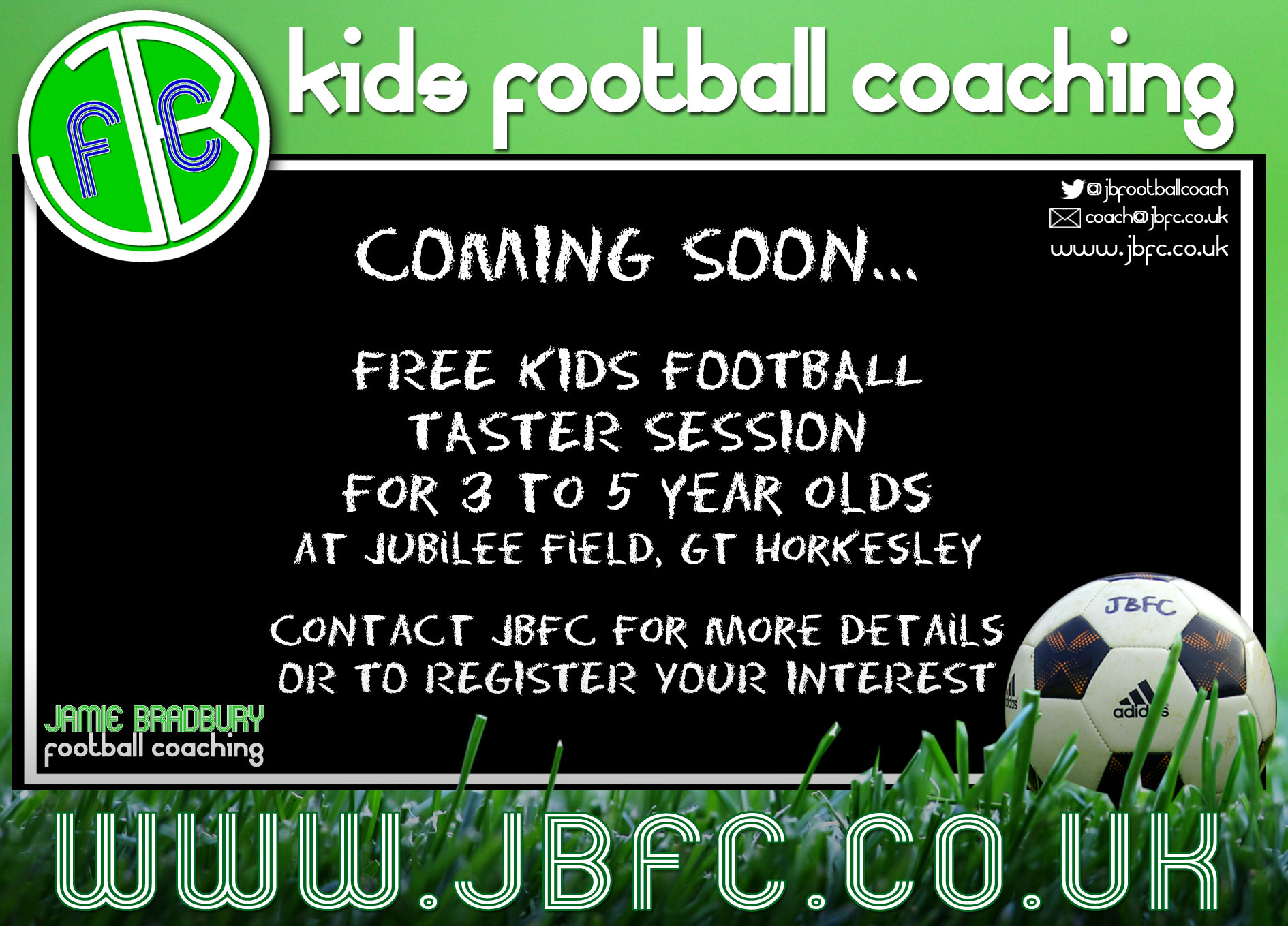 Kids football coaching in Colchester for 3-year-olds 4-year-olds 5-year-olds