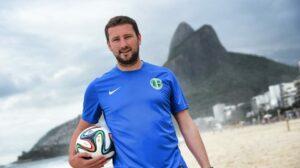 Colchester FA Licensed Football Coach Jamie Bradbury in Rio, Brazil during the 2014 World